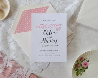 Print-It-Yourself Hand-lettered Save the Dates, Pink wedding, vintage-inspired Save the Date cards -- Chloe