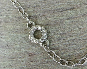 Judith Ripka Sterling Silver Chain Necklace with Twisted Silver Circle Charms with Jeweled Clasp, 18 Inches
