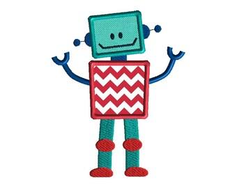 Little Robot Applique Machine Embroidery Design-INSTANT DOWNLOAD