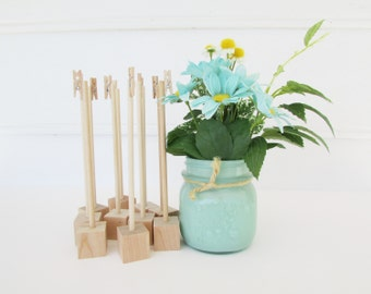 15 Raw Wood Table Number Holders, Rustic Wedding, Shabby Chic, Raw Wood, Southern, Wedding Decoration, Rustic Holder, Clothespin