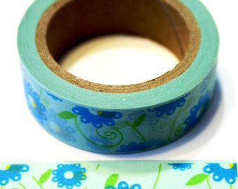 Light Blue with Turquoise Flowers and  Lime Green Leaves Washi Tape
