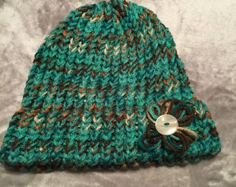 Vera gated green Colors hat with flower and bow