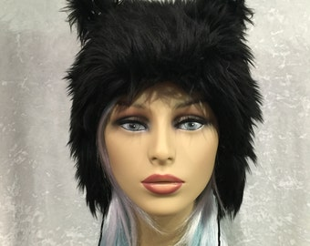 Black Fur Kitty Hat