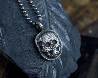 Skull Necklace, Skull Pendant, Sterling Skull, Memento Mori, Sugar Skull, Sterling Necklace