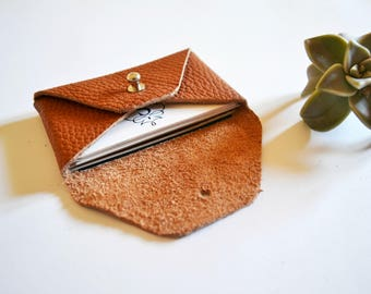 Brown leather card holder / Brown envelope card holder / Brown leather business card case / Genuine leather