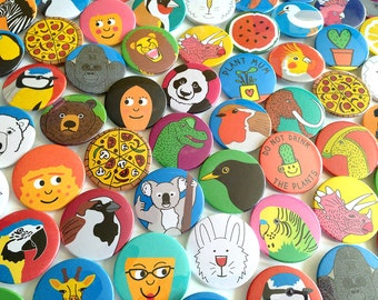 Fun Button Badges, Cute Pins, Animal Badges, Pizza Badges, Funny Pins, hello DODO Button Badges, Party Bag Fillers, Bird Badge, Dinosaur Pin