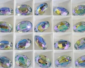 2 pieces 4120 Paradise Shine 18mm x 13mm  Swarovski Crystal Fancy Oval