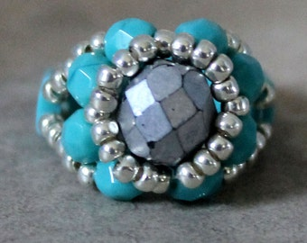 Czech Fire Polished Woven Ring in Silver and Turquoise