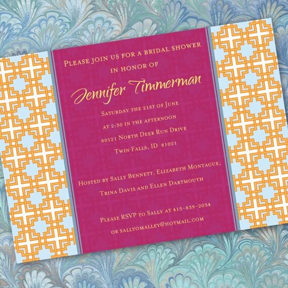bridal shower invitations, fuchsia bridal shower invitations, hot pink bridal shower invitations, wedding shower invitations, IN192