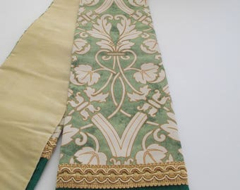 Green Silk Tapered Clergy Priest Pastor Stole with Fortuny style orphey - for ordinary time