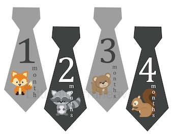 Woodland animals monthly stickers- animal baby age, forest fox baby, raccoon squirrel, deer baby monthly, monthly baby iron on