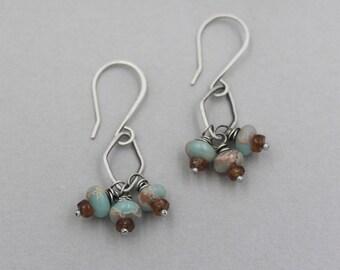 Aqua Terra Jasper and Hessonite Garnet Dangle Earrings, Funky, Rustic, Cluster, Oxidized Sterling Silver Gemstone Earrings, Small Hoop