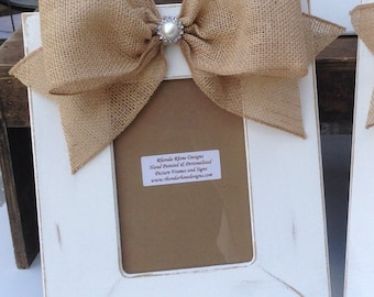 Hand Painted Shabby White 5x7 Frame with Burlap Jeweled Bow