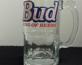 New Heavy Glass Bud King of Beers 32oz. Mug W/ Handle