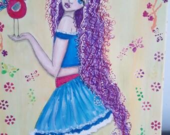 Original painting, teen decor acrylic art, whimsy girl art, bird art,  teen art, teen gift, child gift, naive art, wall art, modern wall art