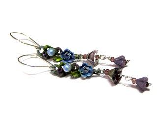 Blue Rose earrings, long dangle earrings, hand painted, re cycled , purple earrings