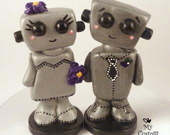 Bots Wedding Cake Topper Kawaii -  Robot Love Bride and Groom