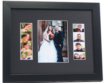 Wedding Event Photo Booth Frame - Holds 1- 5x7 Photo and 2- 2x6 Photo Strips with Mat Great for Wedding, Birthdays or any Event