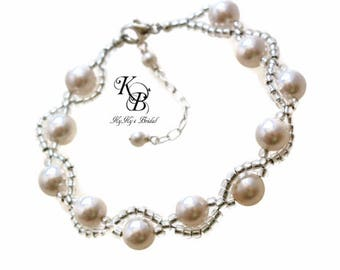 Twisted Pearl Bracelet Pearl Bridal Bracelet Pearl Wedding Bracelet Pearl Bracelet Bridal Jewelry Wedding Jewelry Prom Jewelry