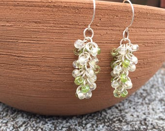 Green cluster earrings, chainmail beaded earrings, chainmaille earrings, shaggy loops, green white cluster dangle sterling silver earrings
