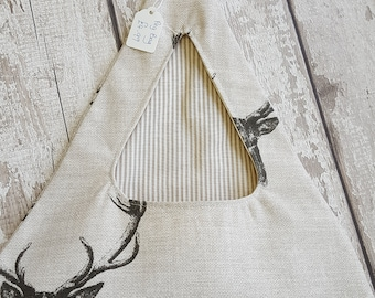 peg bag fabric neutral colour stag design triangle shaped contrasting lining striped fabric line friendly ring