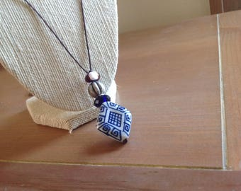 Blue and White Ceramic Pendant with Leather Adjustable Necklace