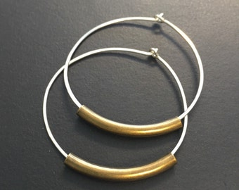Sterling Silver Hoop earrings - Mixed Metal Hoops - Medium sized hoop earrings - Silver and antique gold/brass hoop earrings