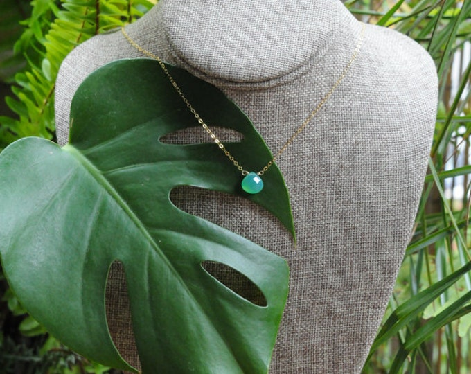 Chrysoprase Collection/ Simple Stone Necklace/ 14K Gold Filled