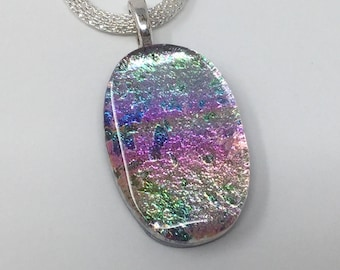 Dichroic Glass Pendant, Fused Glass Jewelry, Pink Silver Necklace
