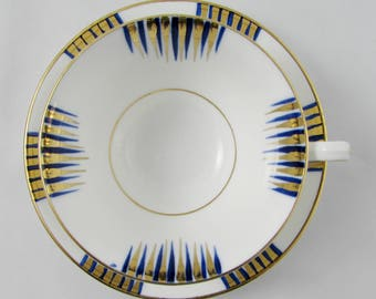 Vintage Tea Cup and Saucer by Phoenix China with Blue and Gold Stripes, Bone China