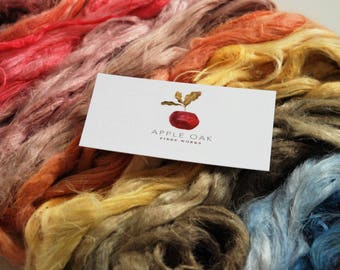 FLAX & HEMP FIBRES ~ Hand Dyed by AppleOak FibreWorks ~ mixed bag of 14 colours~ Vegan, Needle felting, spinning, crafting, naturally dyed