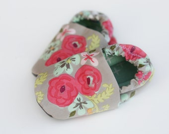 Painted Flower Baby Shoes. Organic Cotton Baby Soft Sole Shoes. Baby Girl Toddler Slippers with watercolor flowers