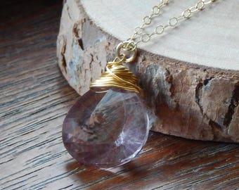 Pink Quartz Necklace,Gemstone Necklace, Pink Quartz Briolette Necklace, Natural Gemstone, Gold Filled Necklace, Layering Necklace