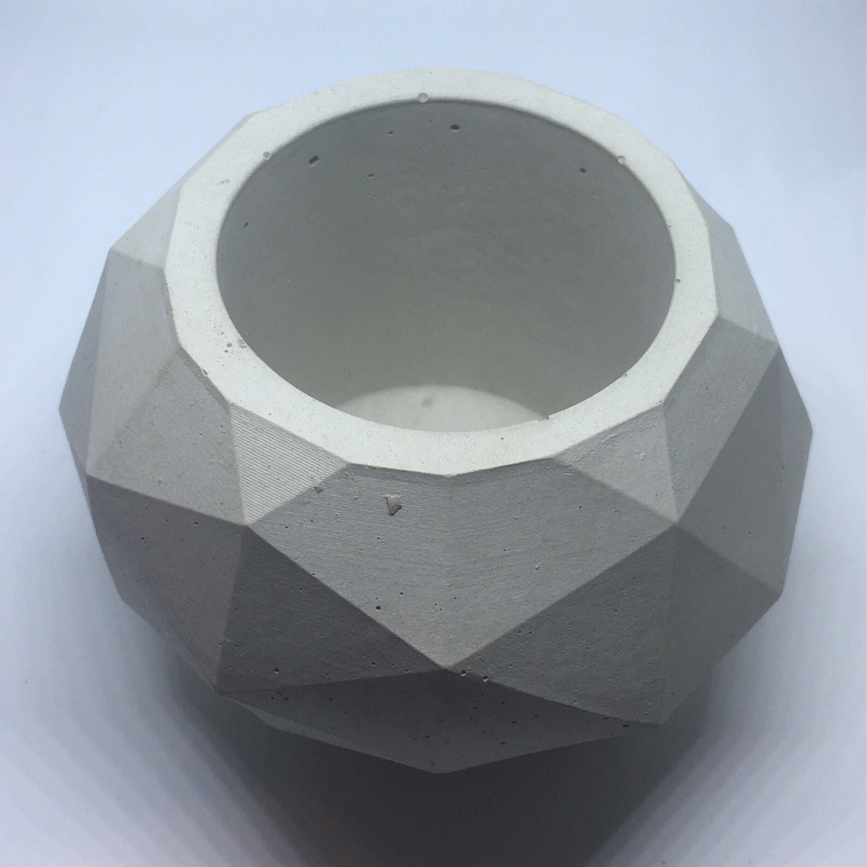 Geodesic Concrete Planter: Geodesic Sphere Concrete Planter, Large//Geometric Planter