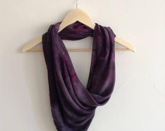 Hand Dyed Purple Soft Draped Scarf