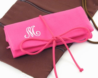 Monogrammed Jewelry Roll / Personalized Travel Jewelry Roll / Monogram Jewelry Organizer / Jewelry Roll Travel Case / Monogram Gifts for Her