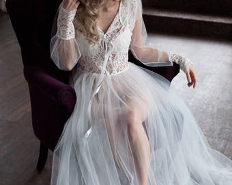 Lace boudoir dress / Boudoir gown / Bridal morning / Tulle boudoir gown / Floor length boudoir gown / transparent dress