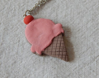 """Necklace, ICE CREAM CONE - Clay Charm on 36"""" Chain (906)"""