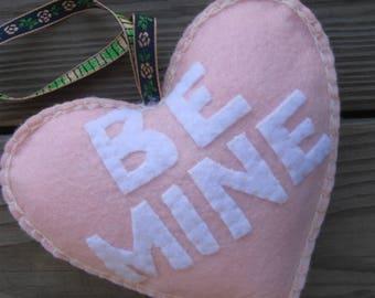 conversation heart hanger applique ornament BE MINE
