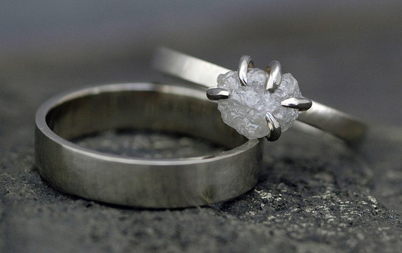 Prong-Set Rough Large Diamond Engagement Ring and Wedding Band in 14k White or Yellow Gold- Size E Diamonds
