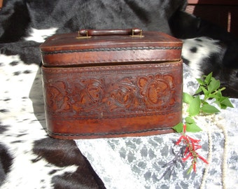 Vintage Tooled Leather Cosmetic Travel Case