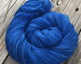 Sparkle Sock Yarn Stunning Sapphires Hand Dyed Hand Painted royal blue bluebird 438 yards superwash merino nylon stellina fingering gems