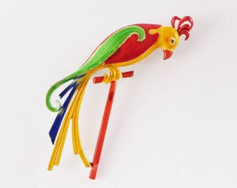 Vintage painted Parrot on a Stand Figural Brooch Pin Colorful Bird