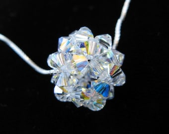 Swarovski Crystal Ball Necklace, Crystal Ball Necklace, Bridal Jewelry, Bridesmaid Jewelry, Beadweaving Jewelry, Beadwoven Ball Necklace