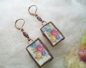 Broken China Earrings Small Delicate Minimal Rose Bouquet Floral Earrings Recycled Glass Upcycled Dishes Cups Copper Bezel Mosaic Earrings