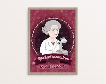 Poster Rita Levi-Montalcini, donne nella scienza, premio nobel, poster femminista, scienziate, poster scienziate, per chi ama la scienza