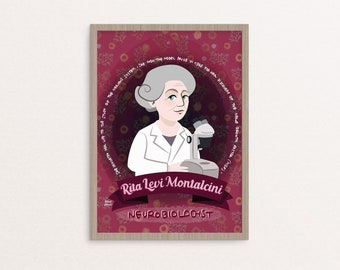 Rita Levi-Montalcini poster, women of science, activist and italian senator, feminist poster, feminist icon, nobel prize, medicine gift