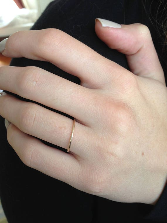 thin Wedding Band simple wedding band Solid 14k Gold womens