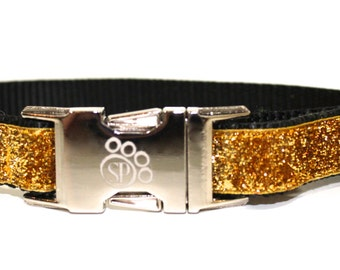 Gold Dog Collar - Celebri-Pup Gold Glitter Dog Collar - sparkly dog collar - metallic dog collar - fancy dog collar