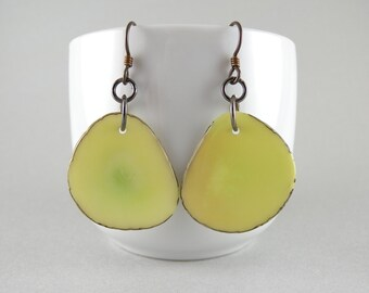 Green Tea Tagua Nut Eco Friendly Yoga Accessories Earrings with Free USA USA Shipping #taguanut #ecofriendlyjewelry